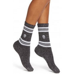 Stripe Skull Metallic Socks