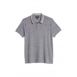 Slim Fit Feeder Stripe Cotton  Cashmere Tipped Polo