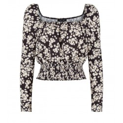 Black Floral Long Sleeve Milkmaid