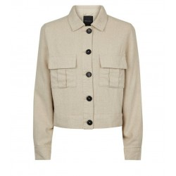 Stone Linen-Look Crop Utility Jacket