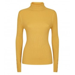 Mustard Roll Neck Button Cuff Jumper