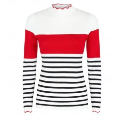 White Stripe Colour Block Frill Neck