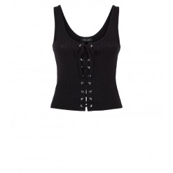 Black Ribbed Lattice Front Vest