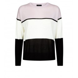 Purple Stripe Fine Knit Crew Jumper