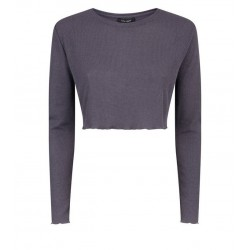 Grey Long Sleeve Fine Knit Crop Top