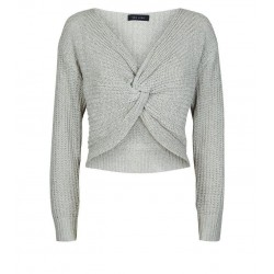 Grey V Neck Twist Front Jumper