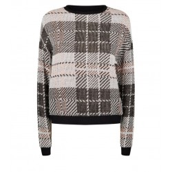 Pink Check Fine Knit Top