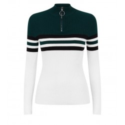 Dark Green Block Stripe Ring Zip Neck Jumper