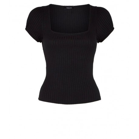 Black Ribbed Square Neck Puff Sleeve T-Shirt