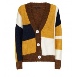 Mustard Patchwork Long Sleeve V Neck Cardigan