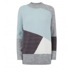 Mint High Neck Patchwork Knit Jumper