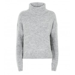 Pale Grey 2 in 1 Roll Neck Jumper