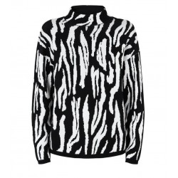 Cameo Rose Black Zebra Print High Neck Jumper