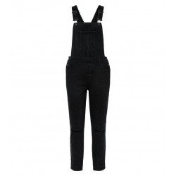 Black Ripped Knee Denim Dungarees