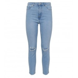 Bright Blue Bleach Wash Ripped Jan Jeans