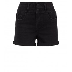 Denim Shorts Black Roll Hem