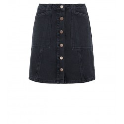 Black Patch Pocket Denim Skirt