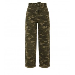 Green Camo Belted Utility Jeans