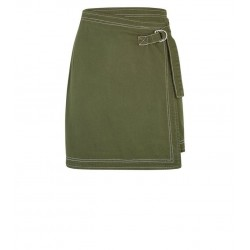 Khaki Wrap Denim Skirt