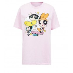 Pale Pink PowerPuff Girls Print T-Shirt