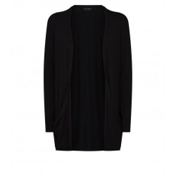 Black Pocket Side Longline Cardigan