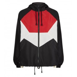Black Colour Block Windbreaker