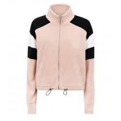 Pink Colour Block Fleece Jacket