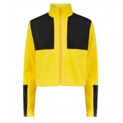 Yellow Colour Block Fleece Jacket