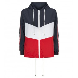 Navy Colour Block Tape Stripe Sleeve Windbreaker