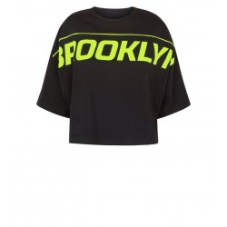 Black Brooklyn Batwing Sleeve Sports Top