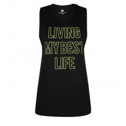 Black Best Life  Slogan Sports Vest