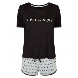 Black Slogan Friends Pyjama Set