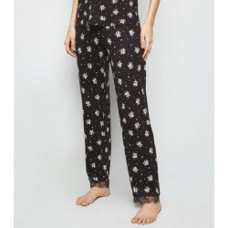 Black Ditsy Floral Lace Trim Pyjama Trousers
