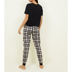 Pink Check Belle Slogan Pyjama Set
