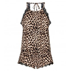 Brown Leopard Print Soft Touch Pyjama Set