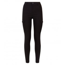 Black Utility Pocket Skinny Stretch Trousers