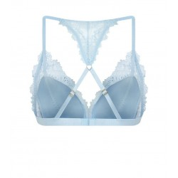 Pale Blue Satin Padded Triangle Bra