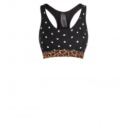 Black Spot Leopard Print Crop Top Bra