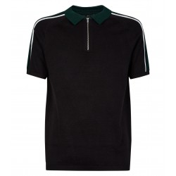 Black Colour Block 1/2 Zip Polo Shirt
